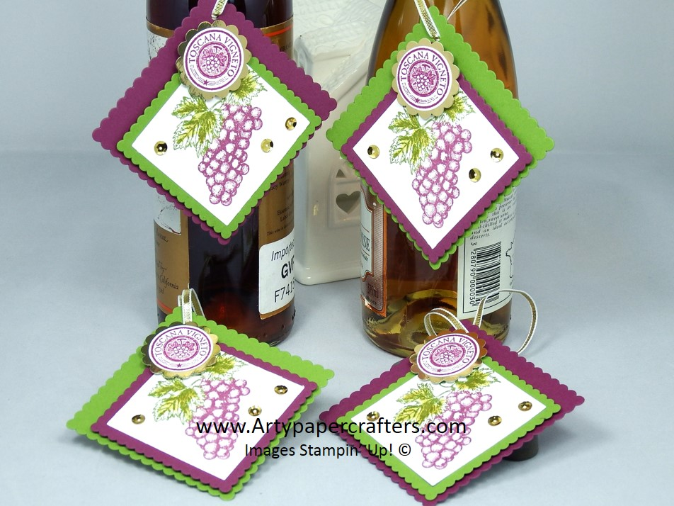Wine Bottle Gift Tags-Stampin\' Up | Arty Paper Crafters