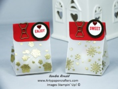 Advent Gift Bag Treats Using Vellum And Gold Heat Embossing Stampin Up