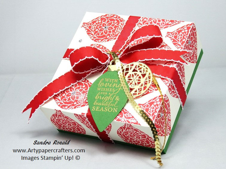 extra large gift box using embellished ornaments stampin up