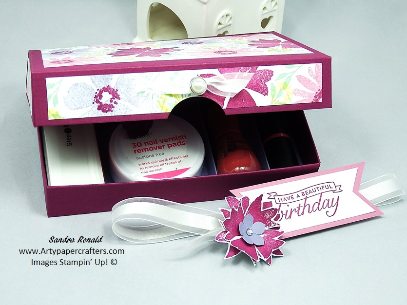 GIFT BOX for Nail Care Kit made using Hand Stamped DSP and Stampin ...